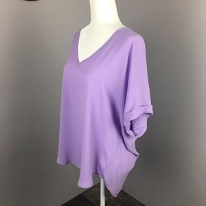 LUSH flowy lilac rolled sleeve blouse